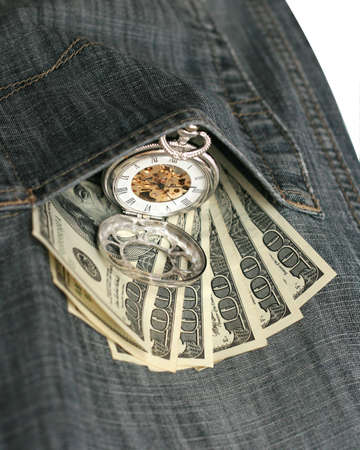 in jeans pocket money and watch photo