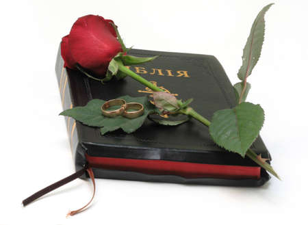 whote: Bible and red rosa isolated on whote Stock Photo