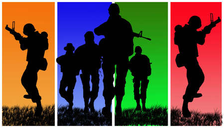 trigger: Four soldiers on colored back background.