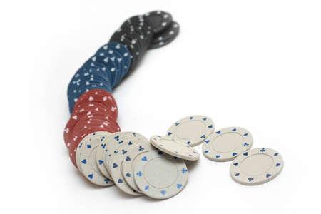 poker chips isolated on white background photo