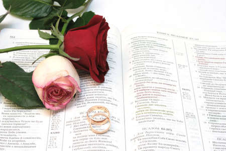 Two red roses and wedding rings on Bible Stock Photo