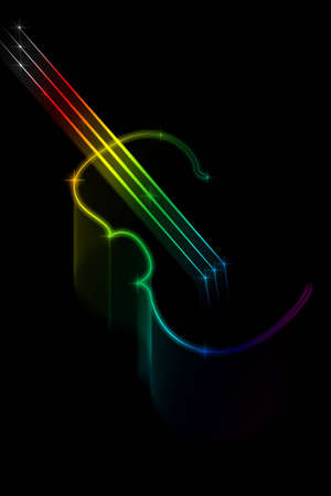 Multicolored silhouette of a violin on a black background