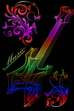 Multicolored silhouette of a guitar on a black background photo