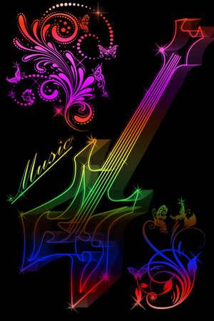 Multicolore silhouette di una chitarra su sfondo nero