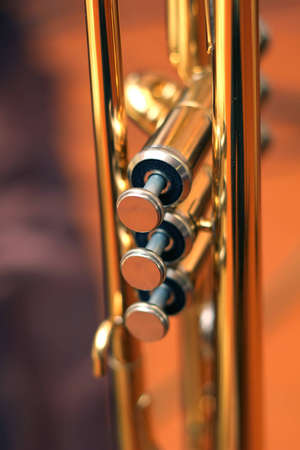 A shallow depth-of-field image of the valves of a trumpet. photo