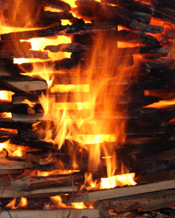 a fire of wood photo