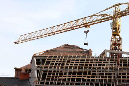 building a house. crane