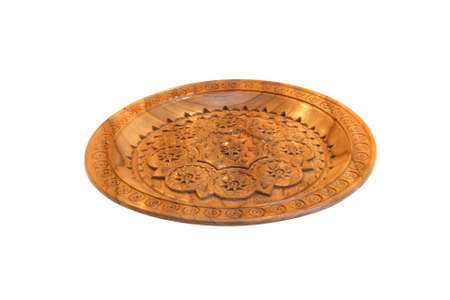 bowl with wood carving isolated on white Stock Photo - 10742484