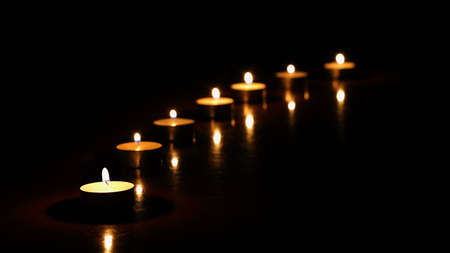 candles in the night. Line of candles