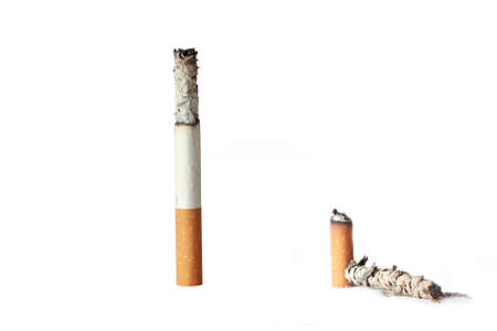 two cigarettes with ash on a white background