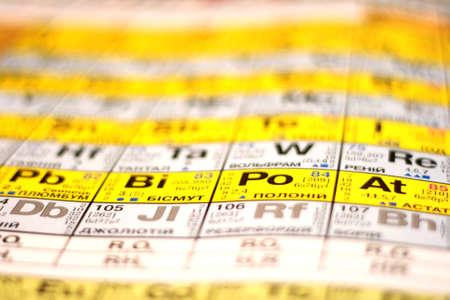 part of periodic table of elements, three dimensional and colorful Stock Photo - 11118176