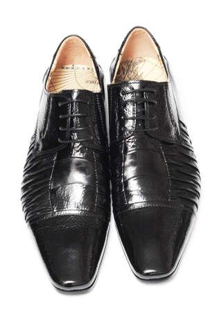 Man black shoes isolated on white background photo