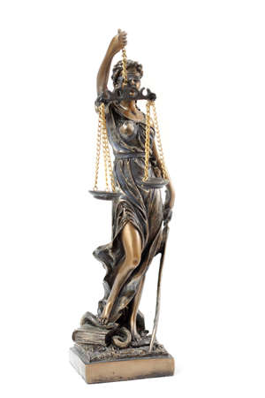 a statue of Themis on a white background