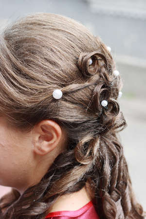 Wedding hairstyle bride. close-up photos photo