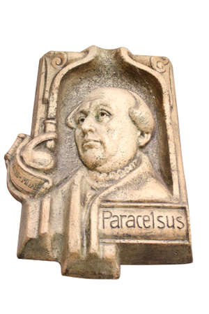 plaster statue Paracelsus, isolated on white