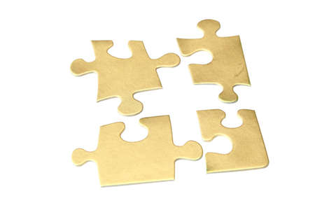 amalgamate: Gold puzzle on white background