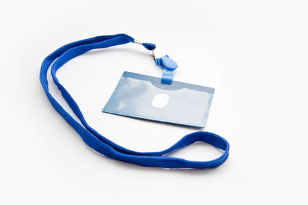 badge with blue ribbon isolated on white