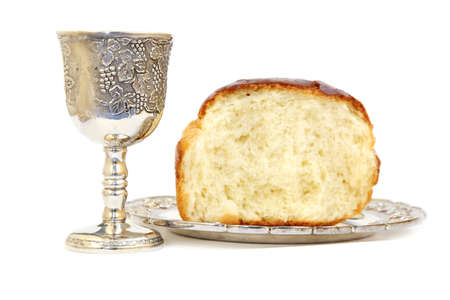 Holy Communion. Bread and cup with wine photo