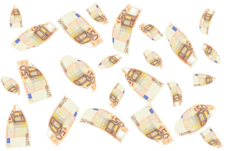 rain of 50 euro bills. Isolated on white background photo