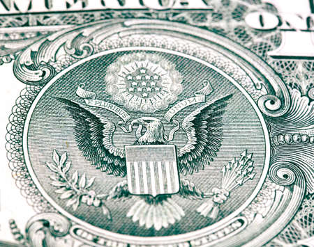 federal reserve: eagle with a dollar bill. Symbol of American independence Stock Photo