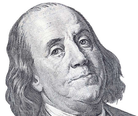 Portrait of Franklin in front of the dollar bill photo