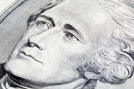 Portrait of Alexander Hamilton in front of the five dollar bill photo