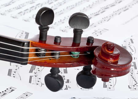fiddle fingerboard on notes background photo