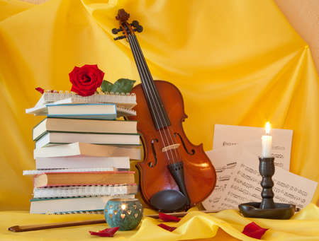 Violin books and notes. still life Stock Photo - 19378706