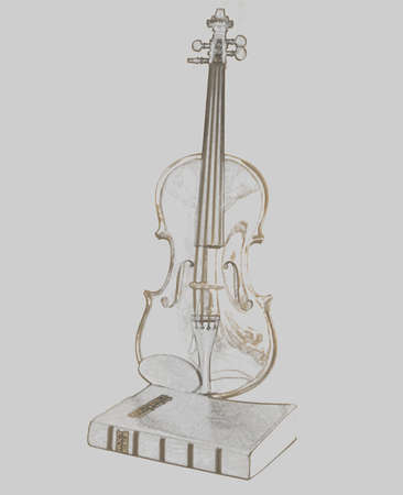 violin with holy Bible isolated on white