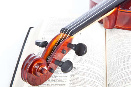 violin with open book isolated onwhite background Stock Photo - 20005536