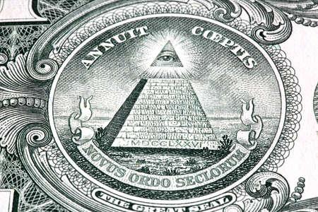 One dollar detail pyramid. Macro image. photo