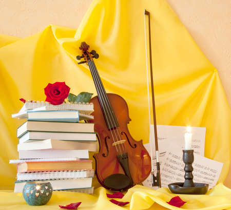 Violin books and notes. still life photo
