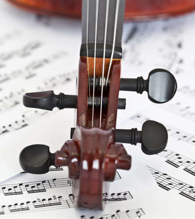 four chambers: fiddle fingerboard on notes background