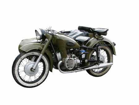 Retro motorcycle on a white background