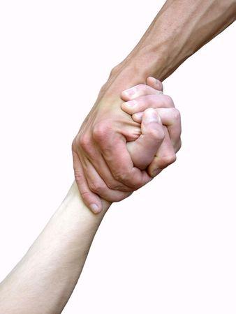 personas ayudandose: Mano a mano sobre un fondo de rock  Foto de archivo