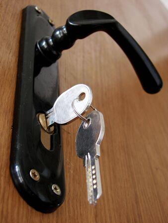 The key is in a door lock                                  photo