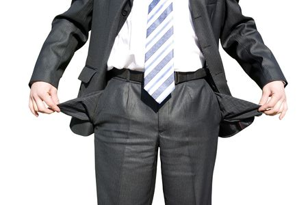 hands in  pocket: Businessman with empty pockets on white