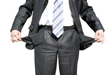 bolsa dinero: Hombre de negocios con los bolsillos vac�os en blanco