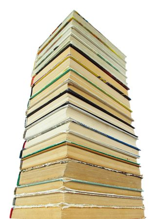 Old books on a white background photo