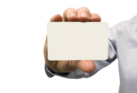 hand holding a blank business card photo