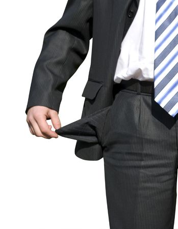 Businessman with empty pockets on white photo