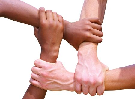 linked together: Linked hands  Stock Photo