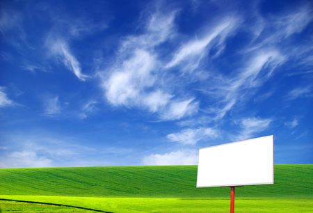 colorful cloudscape: Billboard on a background of the blue sky