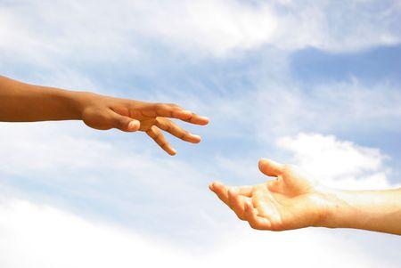 pacto: ayuda con el cielo de fondo  Foto de archivo