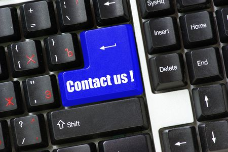 Keyboard  blue key Contact us  Stock Photo - 3518673