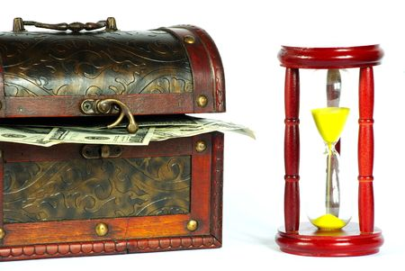 available time: box with money and sand-glasses on a whiteness Stock Photo