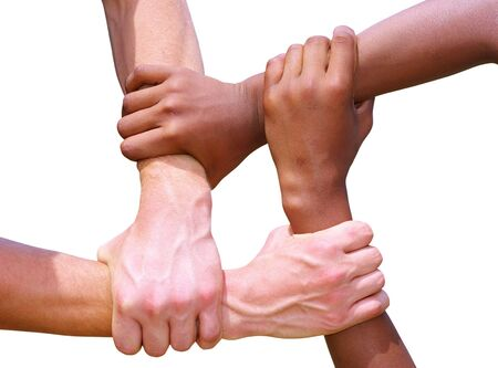 linked: Linked hands  Stock Photo