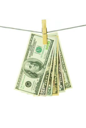 money hanging on a rope over white photo