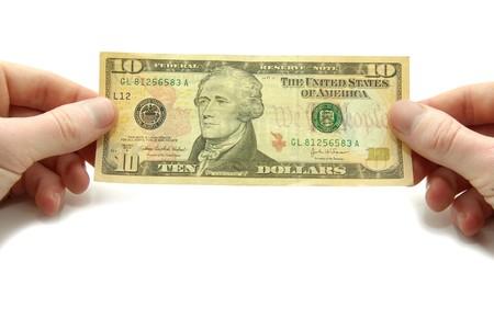 vals geld: Handen houden 10 factuur