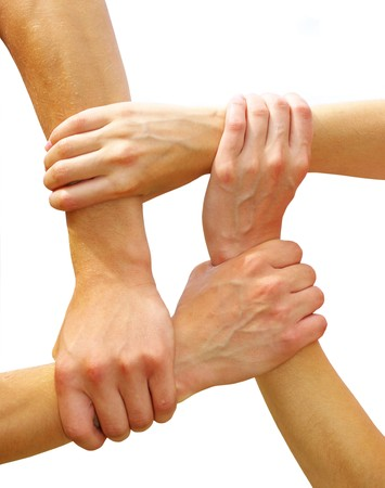 linked hands: Linked hands  Stock Photo